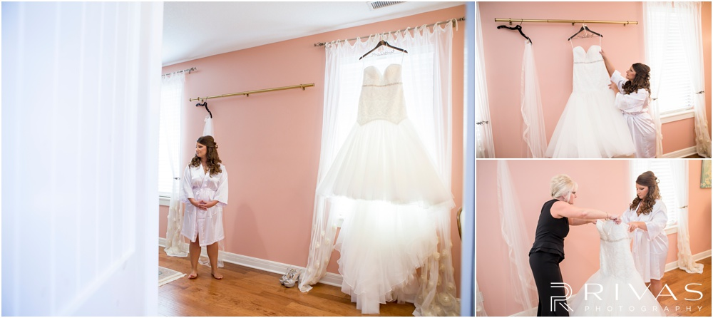 elegant fall wedding buffalo lodge | Three candid photos of a bride putting on her wedding gown in the Bridal Suite at The Buffalo Lodge.