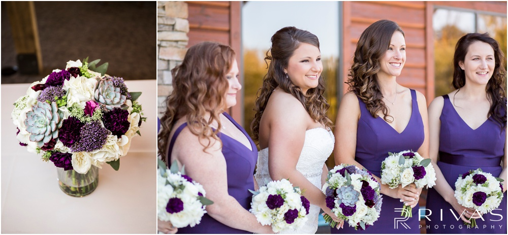 elegant fall wedding buffalo lodge | Two photos of the bride's bouquet and the bridesmaids with their bouquets on the patio of The Buffalo Lodge.
