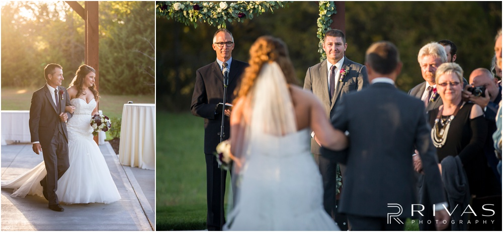 elegant fall wedding buffalo lodge | Two pictures of a bride and her father walking down the aisle at The Buffalo Lodge.