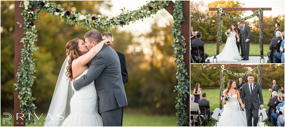 elegant fall wedding buffalo lodge | Three pictures of a bride and groom share their first kiss and walking down the aisle together after a sunset wedding ceremony at The Buffalo Lodge.