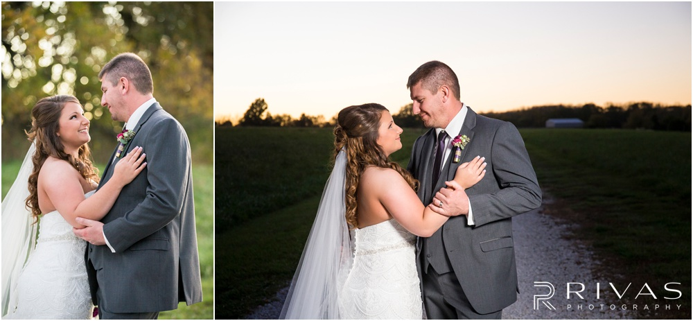 elegant fall wedding buffalo lodge | Two candid photos of a bride and groom hugging at sunset at The Buffalo Lodge.