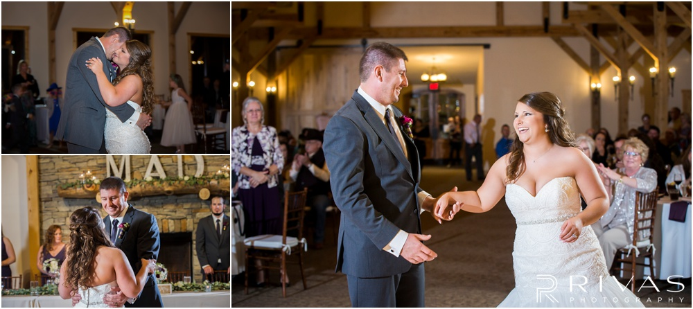 Three candid photos of a bride and groom during their first dance at The Buffalo Lodge.