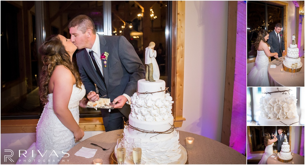 elegant fall wedding buffalo lodge | Three candid photos of a bride and groom cutting their wedding cake at The Buffalo Lodge.