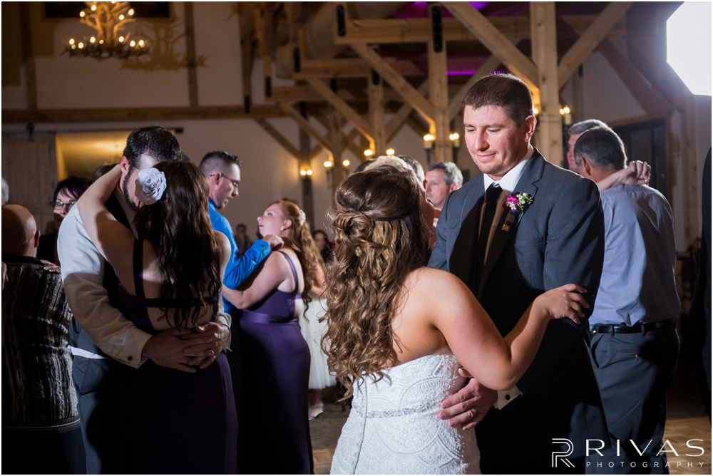 elegant fall wedding buffalo lodge | A candid picture of a bride and groom dancing at The Buffalo Lodge.