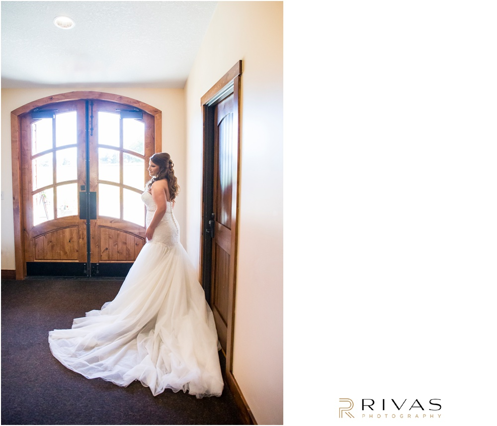elegant fall wedding buffalo lodge | A photo of a bride in her wedding gown at The Buffalo Lodge.