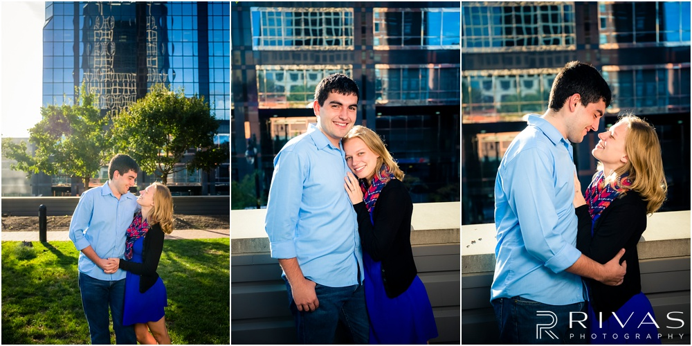 vibrant downtown kansas city engagement session | kansas city wedding photographer | kansas city skyline engagement pictures