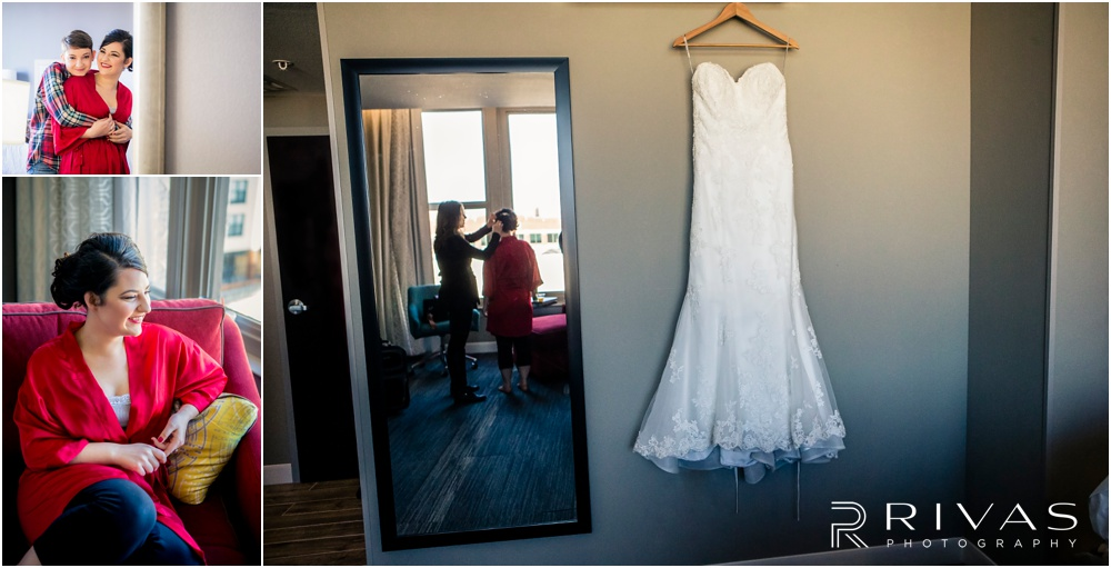 KC Winter Wedding | Three candid pictures of a bride getting ready on her wedding day.