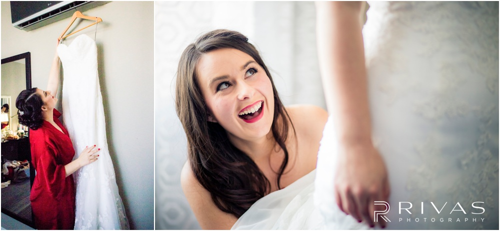 KC Winter Wedding | Two candid pictures of a bride getting ready on her wedding day.