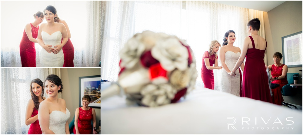 KC Winter Wedding | Three candid photos of a bride putting on her wedding gown with help from her maid of honor.