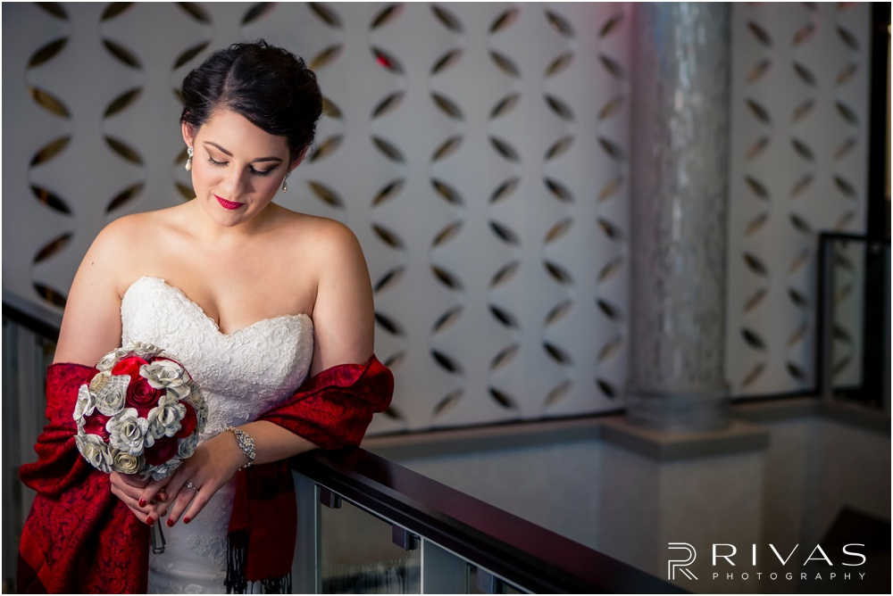 KC Winter Wedding | A close-up picture of a bride and her paper-flower bouquet on her wedding day.