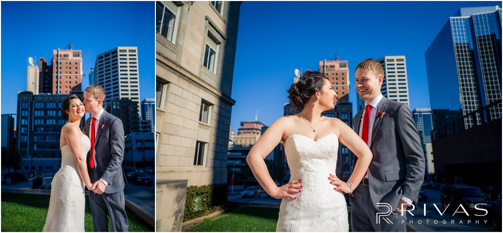 KC Winter Wedding | Two candid pictures of a bride and groom embracing on their wedding day.
