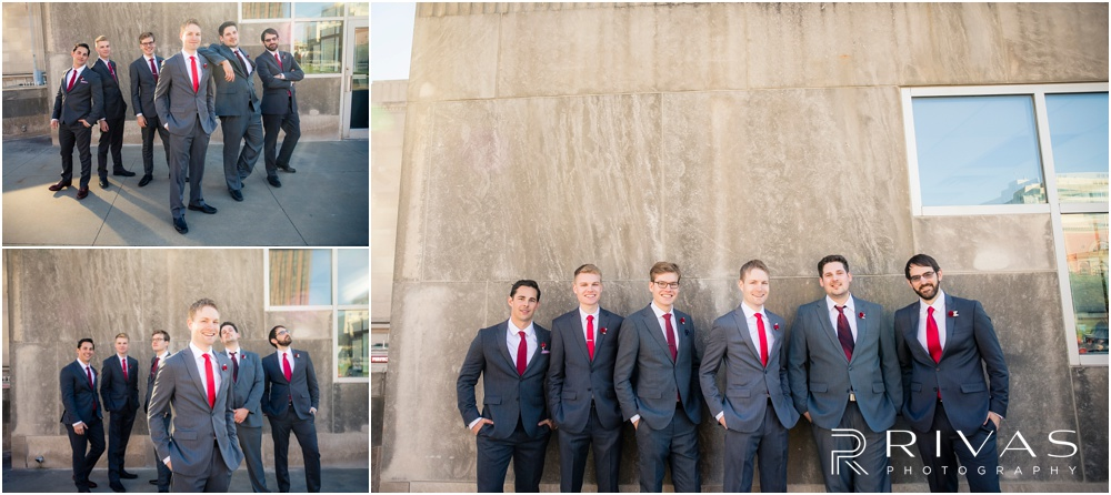 KC Winter Wedding | A picture of a groom and his groomsmen at Barney Allis Plaza.