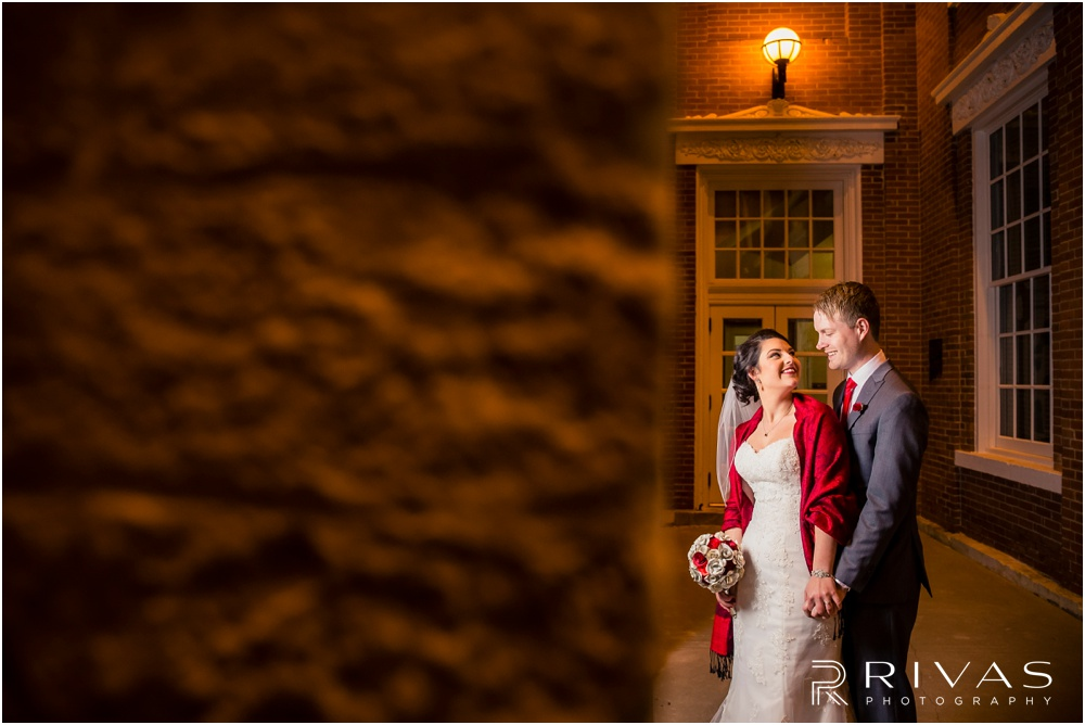 KC Winter Wedding | A nighttime picture of a bride and groom at William Jewell College.