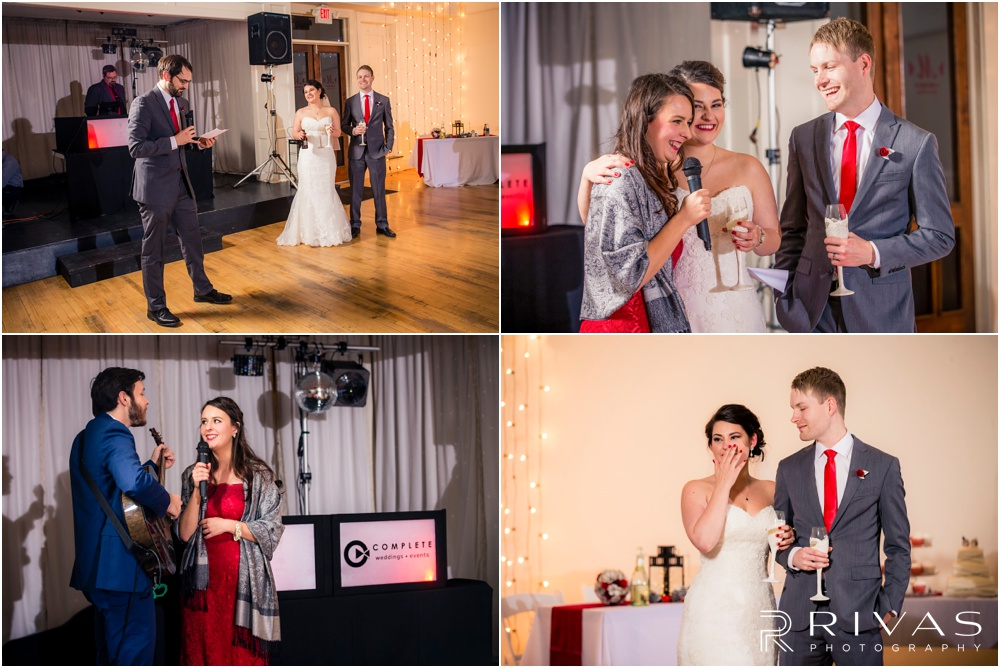 KC Winter Wedding | Four candid pictures of a bride and groom receiving toasts from their bridal party at their reception.