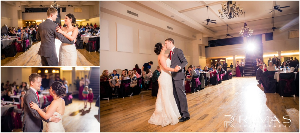KC Winter Wedding | Three candid photos of a bride and groom sharing their first dance at their reception.