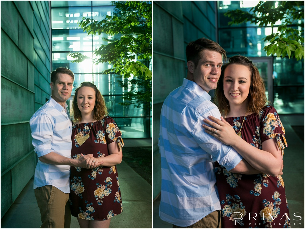 Summertime Crossroads Engagement Session | Two pictures of an engaged couple on the eastern side of the Kansas City Star Building.