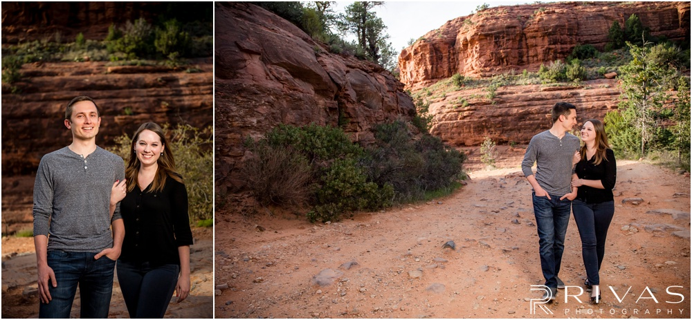 Merry-Go-Round Rock Engagement Session | Two pictures of an engaged couple walking up a rocky path in Sedona.