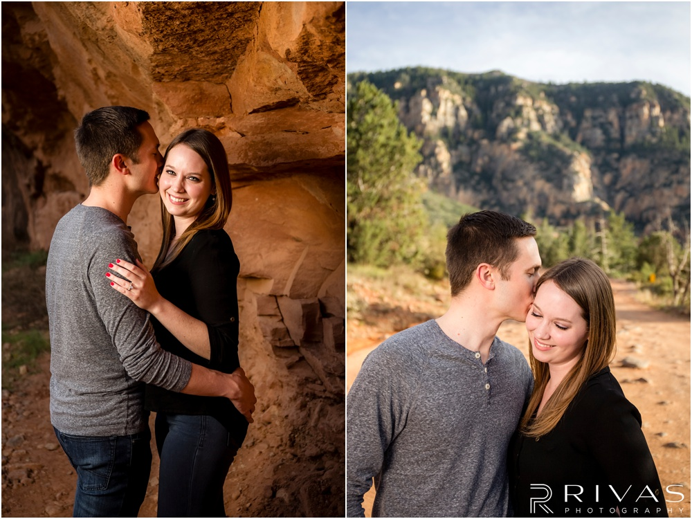 Merry-Go-Round Rock Engagement Session | Two pictures of an engaged couple standing in front of red rocks in Sedona.