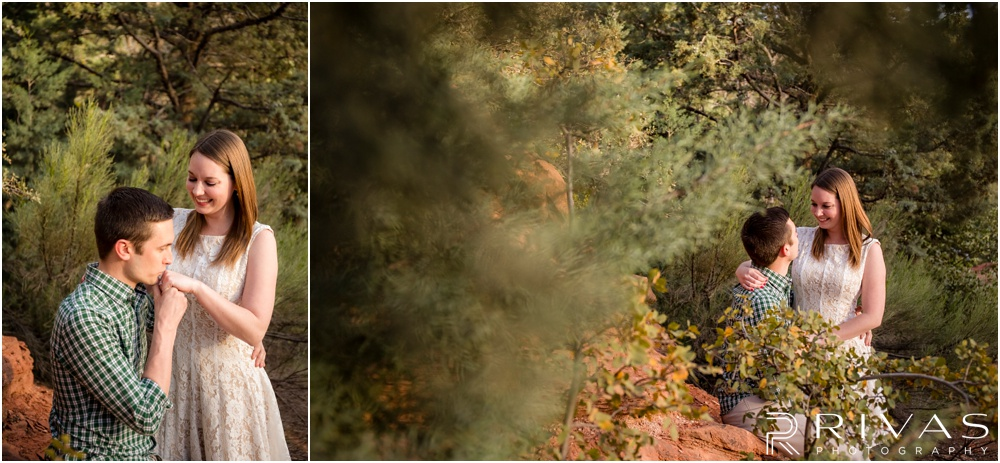 Merry-Go-Round Rock Engagement Session | Two pictures of an engaged couple sitting in front of red rocks and green shrubs at Merry-Go-Round Rock in Sedona.