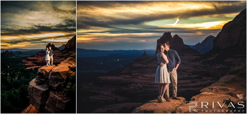 Merry-Go-Round Rock Engagement Session | Two pictures of an engaged couple standing on Merry-Go-Round Rock at sunset in Sedona.