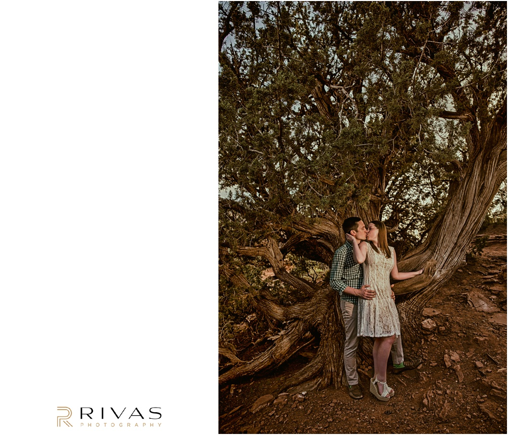 Merry-Go-Round Rock Engagement Session | Picture of an engaged couple kissing in front of a large tree at Merry-Go-Round Rock in Sedona.