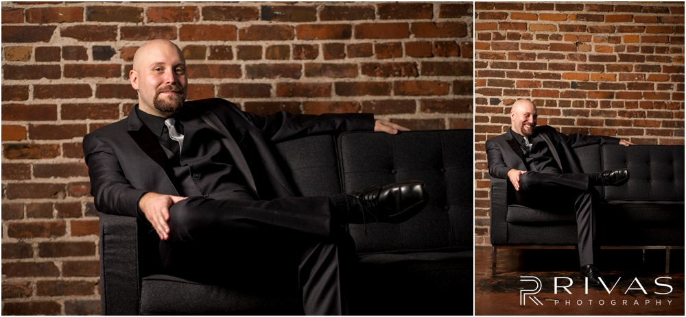 Vibrant Spring Wedding at The Guild | Two portraits of a groom dressed in a black tux sitting on a black leather sofa at The Guild KC.