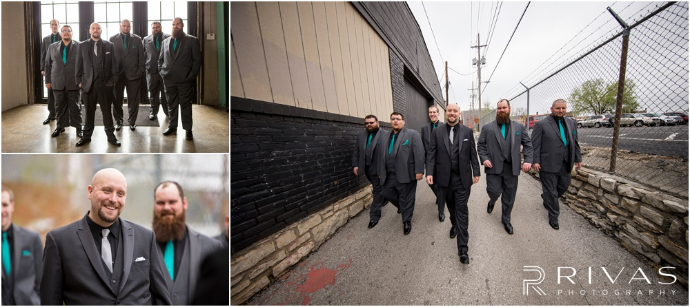 Vibrant Spring Wedding at The Guild | Three pictures of a groom and his groomsmen walking down the alley outside The Guild KC.