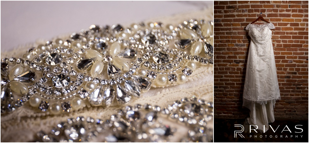 Vibrant Spring Wedding at The Guild | Two photos of a bride's beaded garter and wedding gown hanging up at The Guild KC.