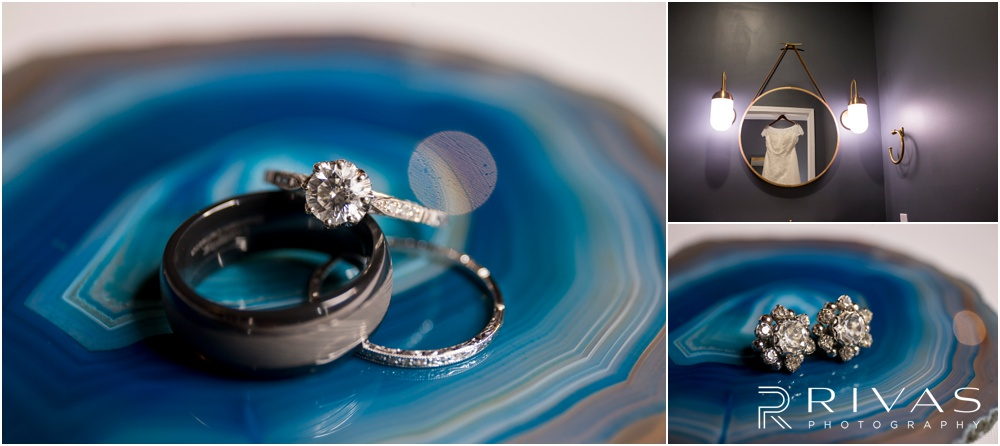 Vibrant Spring Wedding at The Guild | Three close-up photos of a bride and groom's jewelry on blue agate at The Guild KC.