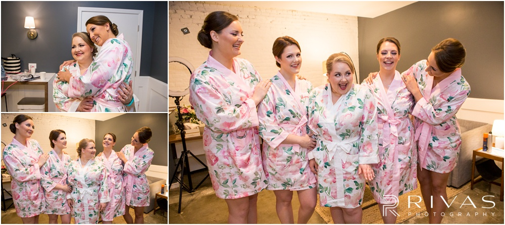 Vibrant Spring Wedding at The Guild | Three candid photos of a bride and her bridesmaids dressed in pink floral robes getting ready in the bridal suite at The Guild KC.