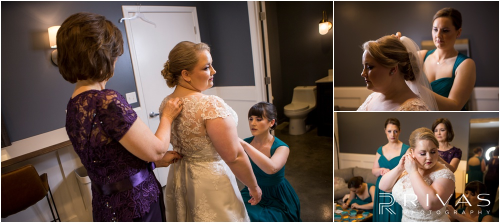 Vibrant Spring Wedding at The Guild | Three pictures of a bride putting on her wedding gown in the bridal suite at The Guild KC.