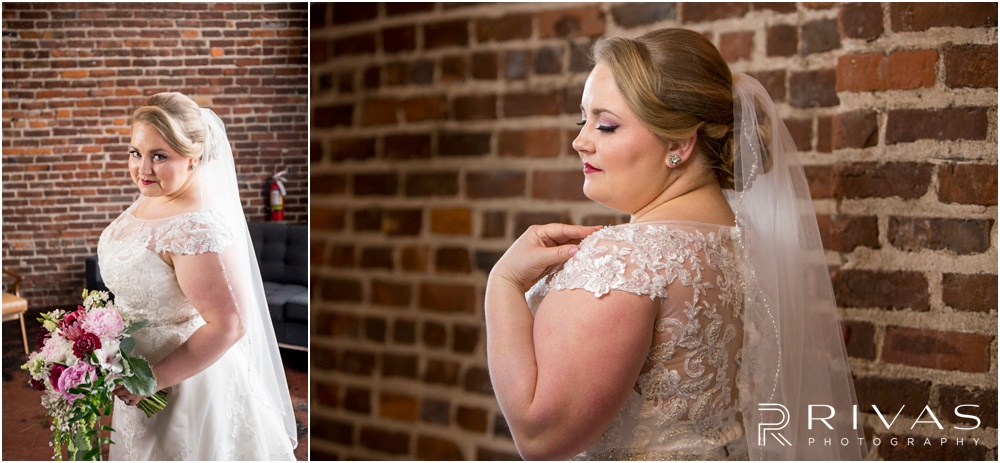 Vibrant Spring Wedding at The Guild | Two portraits of a bride in her wedding gown in front of a brick wall at The Guild KC.