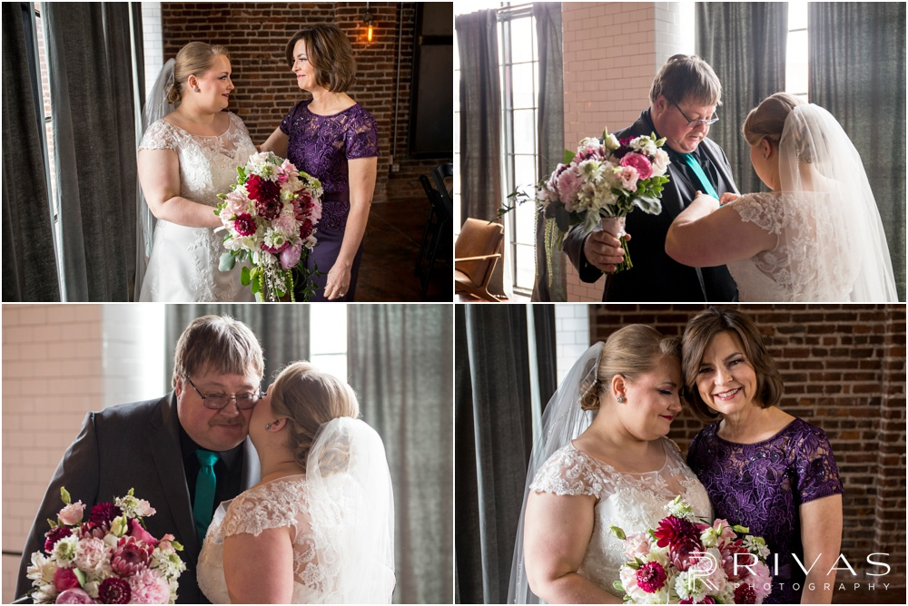 Vibrant Spring Wedding at The Guild | Four candid photos of a bride with her mom and dad before her wedding at The Guild KC.