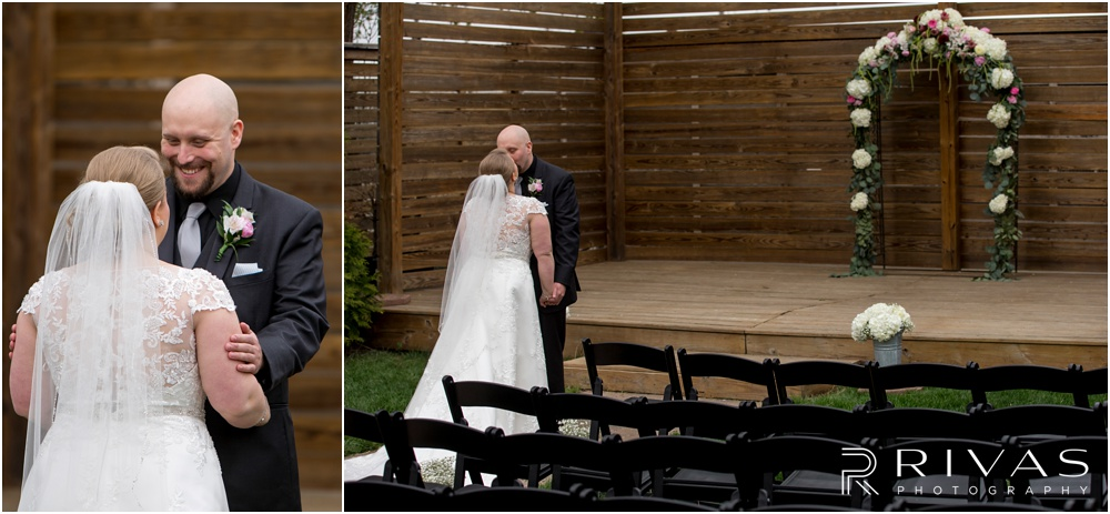 Vibrant Spring Wedding at The Guild | Two candid pictures of a bride and groom's first look on their wedding day in the courtyard at The Guild KC.