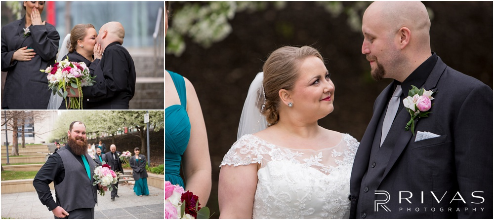 Vibrant Spring Wedding at The Guild | Three candid photos of a bride and groom with their wedding party at Ilus Davis Park in Kansas City.