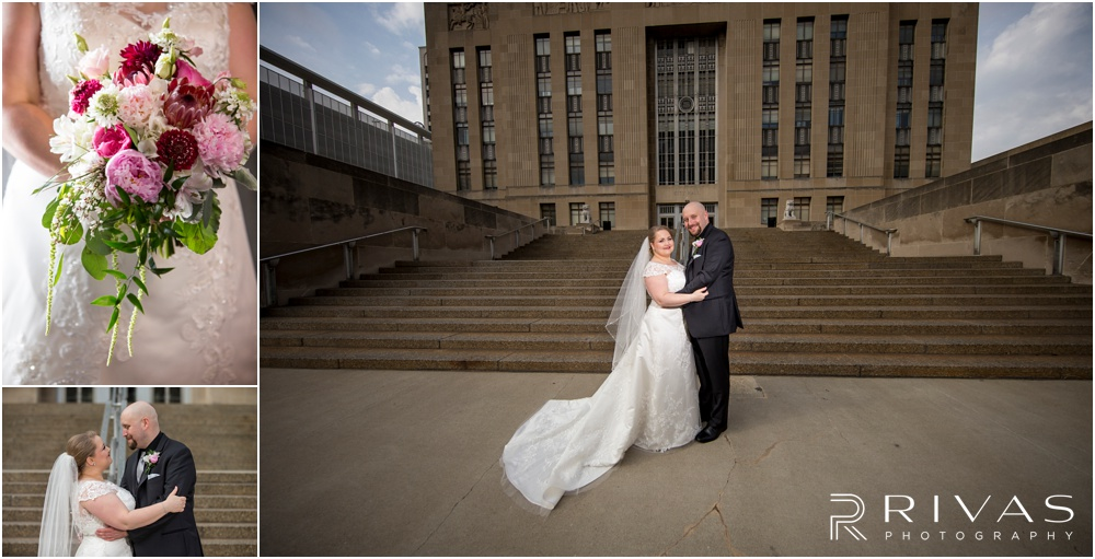 Vibrant Spring Wedding at The Guild | Two candid pictures of a bride and groom on their wedding day in front of the Kansas City MO City Hall.