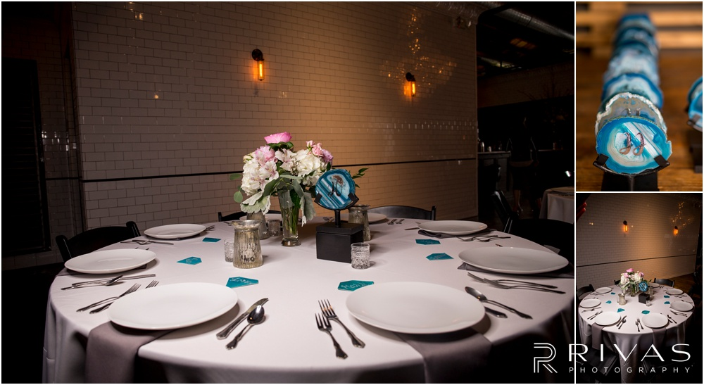 Vibrant Spring Wedding at The Guild | Three close-up photos of reception table settings and details at The Guild KC.