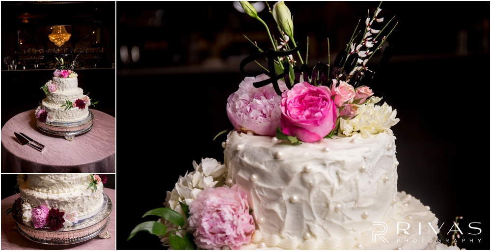 Vibrant Spring Wedding at The Guild | Close-up photos of a three-tier buttercream covered wedding cake with pink and fuchsia peonies at The Guild KC.