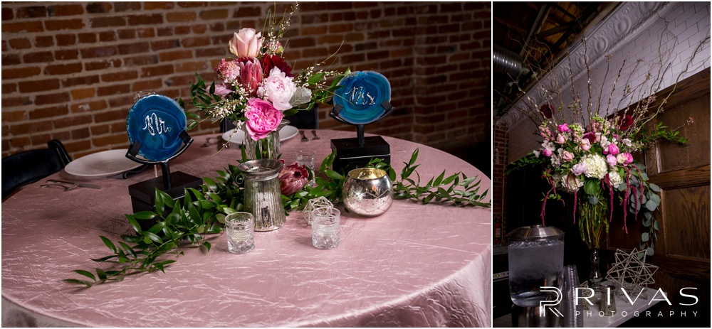 Vibrant Spring Wedding at The Guild | Two close-up photos of reception table settings and details at The Guild KC.