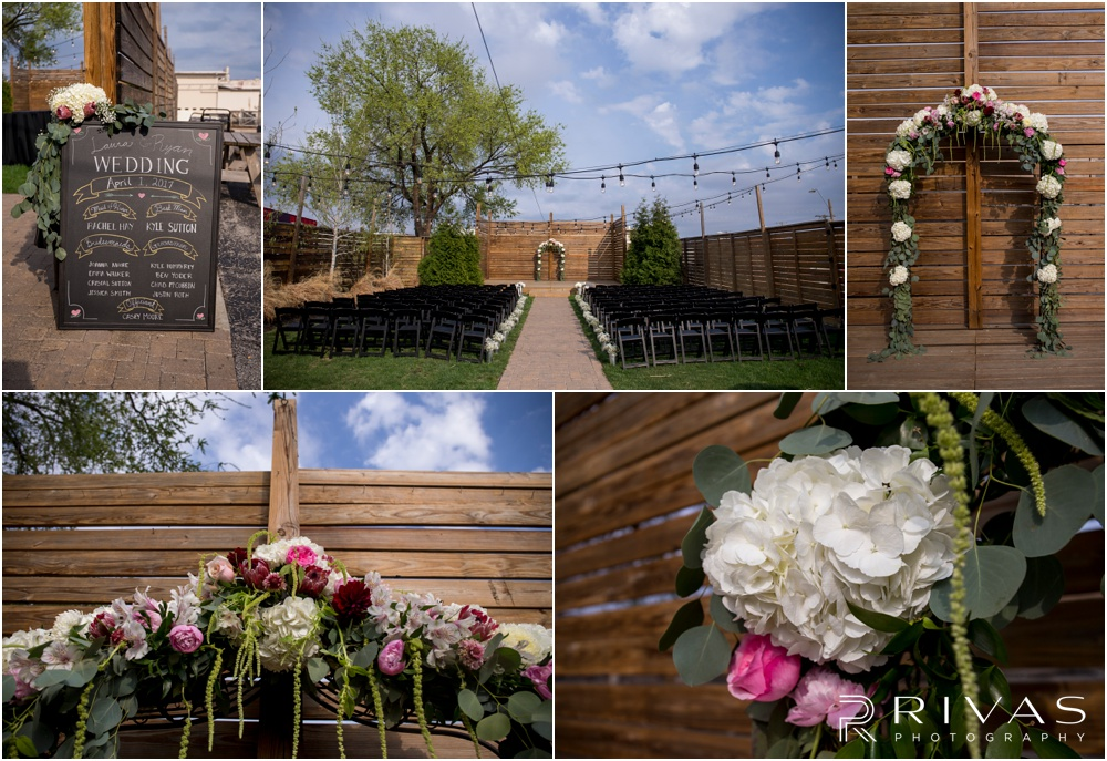 Vibrant Spring Wedding at The Guild | Five close-up photos a wedding ceremony set-up and details in the courtyard of The Guild KC.