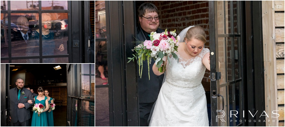 Vibrant Spring Wedding at The Guild | Three candid photos of a bride and her father and wedding party preparing to walk down the aisle at The Guild KC.