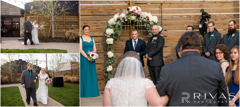 Vibrant Spring Wedding at The Guild | Three photos of a bride walking down the aisle in the courtyard of The Guild KC.