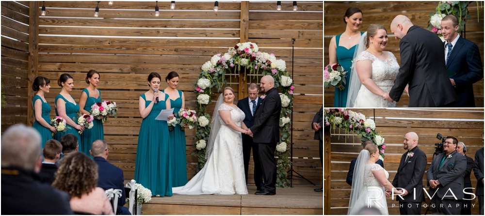 Vibrant Spring Wedding at The Guild | Candid photos of a bride and groom during their wedding ceremony in the courtyard at The Guild KC.