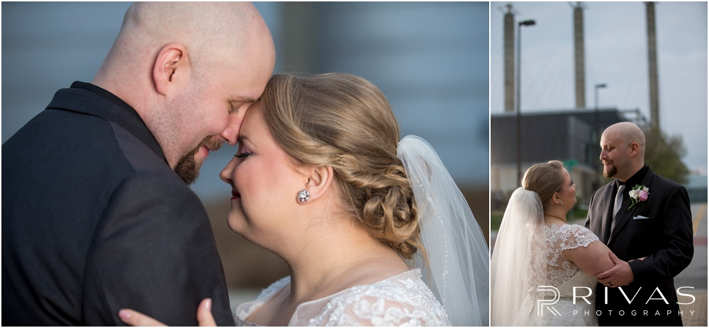 Vibrant Spring Wedding at The Guild | Two candid close-up photos of a bride and groom at The Kauffman Center for Performing Arts in Kansas City.