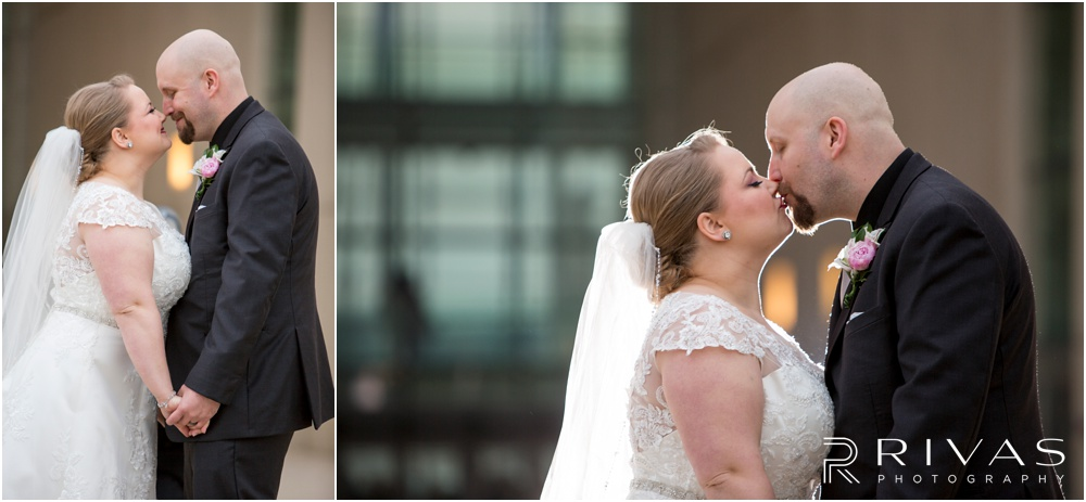Vibrant Spring Wedding at The Guild | Two candid pictures of a bride and groom in front of The Kauffman Center for Performing Arts in Kansas City.