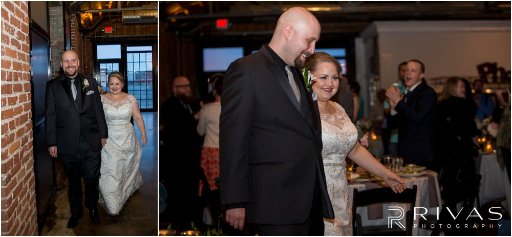 Vibrant Spring Wedding at The Guild | Two pictures of a bride and groom entering their reception at The Guild KC.