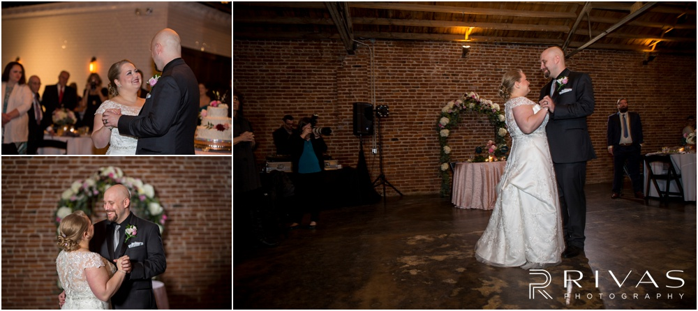 Vibrant Spring Wedding at The Guild | Three pictures of a bride and groom sharing their first dance at The Guild KC.