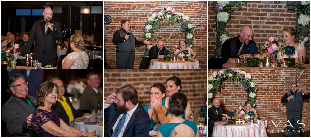 Vibrant Spring Wedding at The Guild | Six photos of family and wedding party toasting the bride and groom during their wedding reception at The Guild KC.