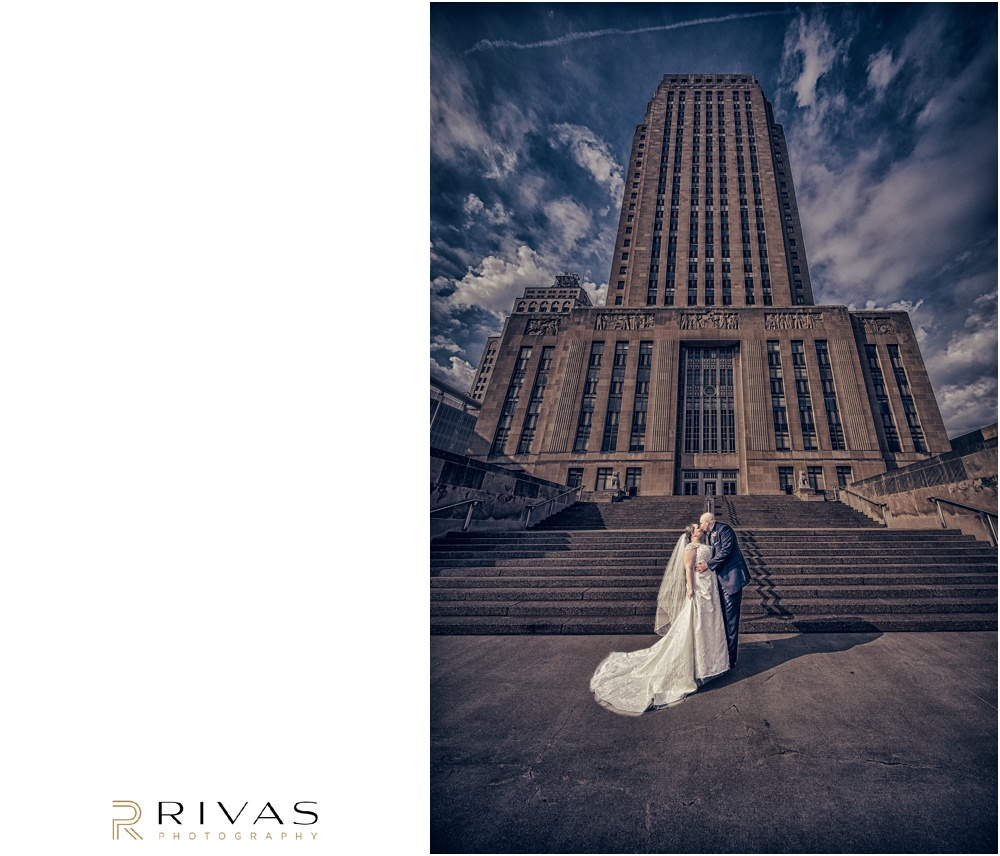 Vibrant Spring Wedding at The Guild | Dramatic portrait of a bride and groom on their wedding day in front of the Kansas City MO City Hall.