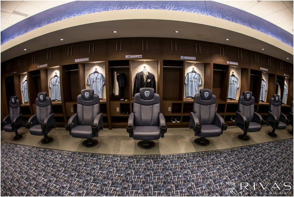 children's mercy park winter wedding | A picture of a groom's tuxedo hanging in the main locker room at the soccer stadium.